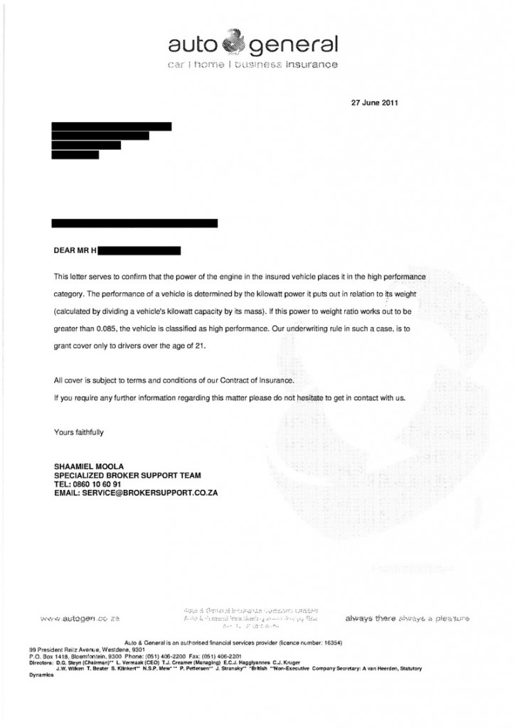 Example Letter Of No Car Insurance Coverage