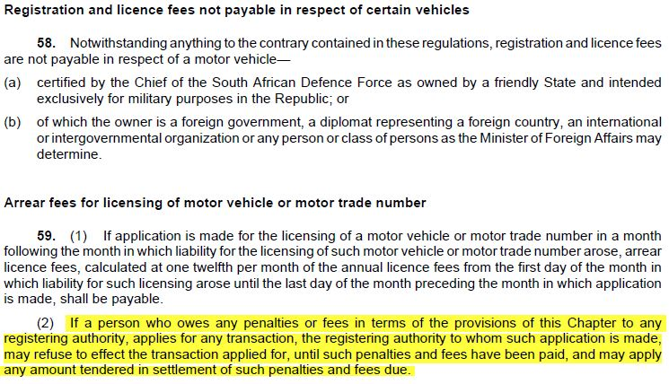 penalty for expired drivers license south africa
