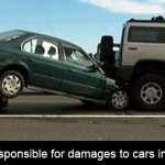 Who is responsible for damage to cars in a chain accident?