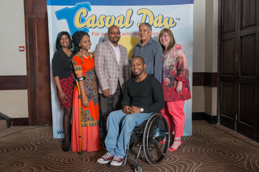 Top L to R: Provincial director of KZN APD Cheryl Naidoo, Casual Day ambassador Bongi Mdluli, Casual Day chairman Lusani Netshitomboni, provincial chairman of the National Council for Persons with Physical Disabilities in SA (NCPPDSA) PB Singh and Casual Day project leader Vanessa du Plessis. Front: Special guest Sipha Gumbi, a member of the National Wheelchair Basketball team.