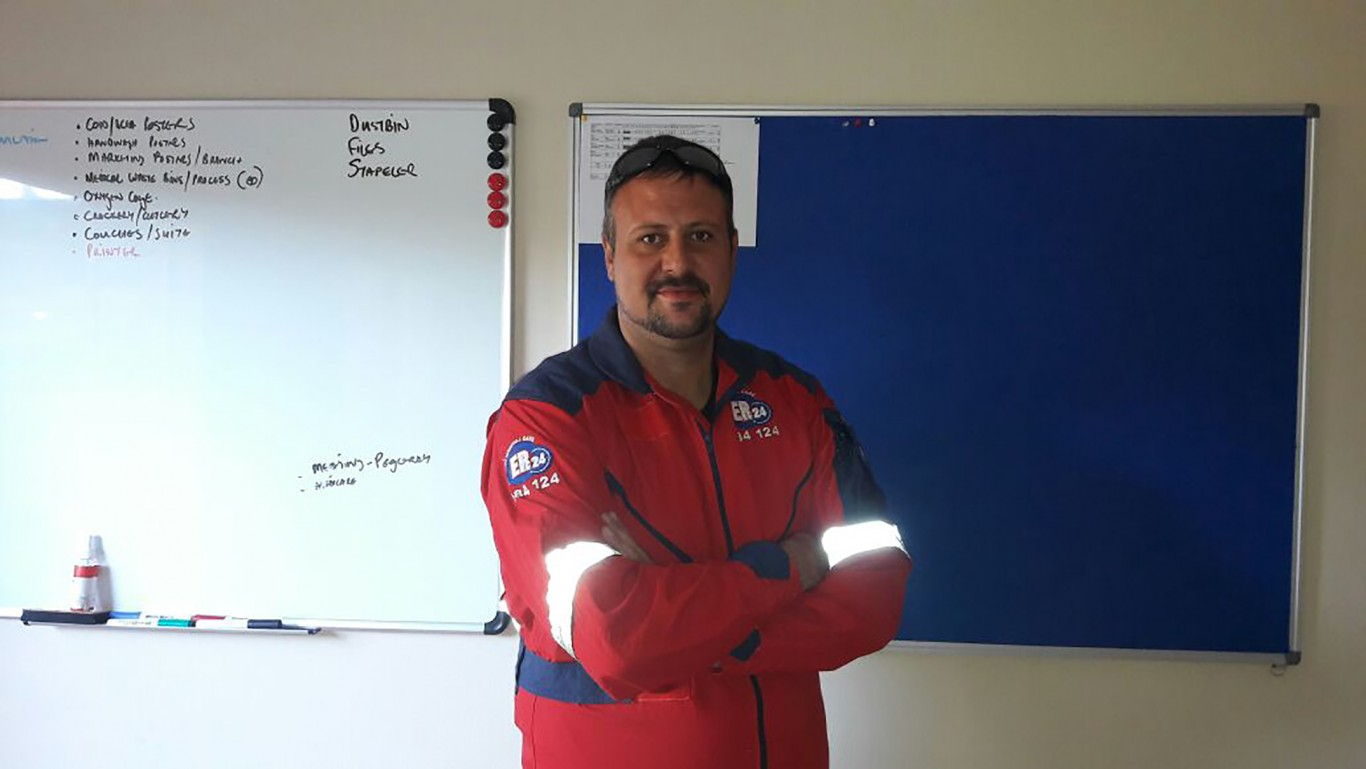 Lourens Smit, an Advanced Life Support paramedic, is part of the ER24 Rustenburg team.