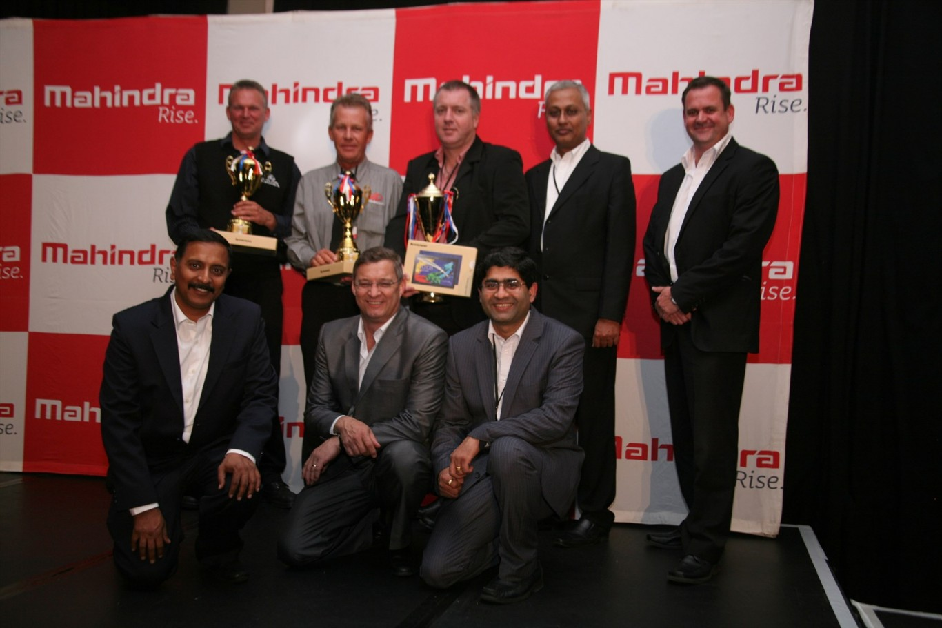 Back row from left  Carel Scholly, Dealer Principal from Mahindra Heidelberg  Andre Marx, Dealer Principal from Mahindra Vaal  Jaco Swart, Dealer Principal from Mahindra Bloemfontein  Sanjoy Gupta, Chief Executive Officer from Mahindra South Africa  Jacques Mellet, Logistics manager from Mahindra South Africa  Front row from left  Pavan Nair, Head of After Sales from Mahindra South Africa  Francois van Eeden, Head of Sales & Marketing from Mahindra South Africa  Avinash Bapat, Chief Financial Officer from Mahindra South Africa