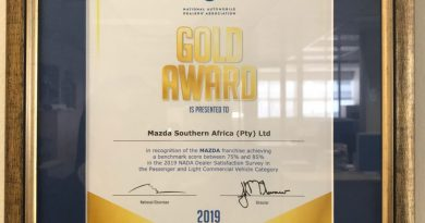 Gold for Mazda SA at the 2019 National Automobile Dealers' Association Dealer Satisfaction Index Awards