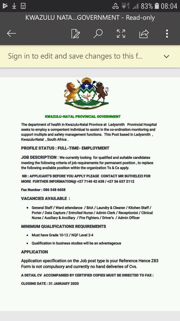 KZN Health warns public about fake job advert | Insurance Chat